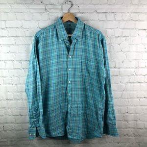 Alan fluster men's large button down shirt plaid